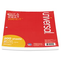 Mediumweight 16-lb. Filler Paper, 11 x 8-1/2, College Ruled, White, 200 Shts/Pk