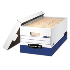 "PRESTO Heavy-Duty Storage Boxes, Letter Files, 13"" x 16.5"" x 10.38"", White/Blue, 12/Carton"