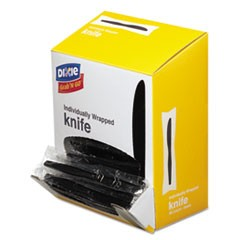 Grab�N Go Wrapped Cutlery, Knives, Black, 90/Box