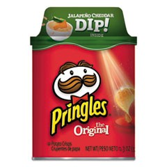 Potato Chips with Dip, Original Chips w/Jalapeno Cheddar, 2.8oz Canister,12/Ctn