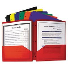 Two-Pocket Heavyweight Poly Portfolio Folder w/3-Hole Punch, Letter, Assorted