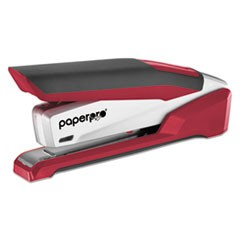 InPower Spring-Powered Premium Desktop Stapler, 28-Sheet Capacity, Red/Silver