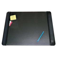 Executive Desk Pad with Leather-Like Side Panels, 24 x 19, Black