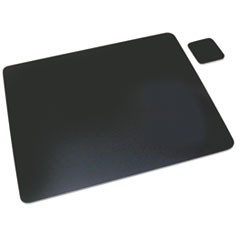 Leather Desk Pad w/Coaster, 19 x 24, Black