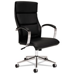 HVL105 Executive High-Back Leather Chair, Supports up to 250 lbs., Black Seat/Black Back, Polished Aluminum Base
