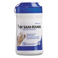 Sani-Hands ALC Instant Hand Sanitizing Wipes, 7.5x6, White, 135/Canister,12/Ctn