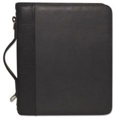 Zip-Around Cal-Q Folio, Smooth Cover, Calculator, 3-Ring, Pad, Pocket, Black