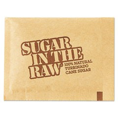 Sugar Packets, Raw Sugar, 0.18 oz Packets, 500 per Carton