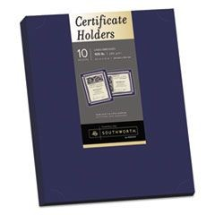 Certificate Holder, Navy, Linen, 105 lbs., 12 x 9-1/2, 10/Pack