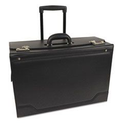 Rolling Catalog Case, Leather-Trimmed Tufide, 21 3/4 x 15 1/2 x 9 3/4, Black