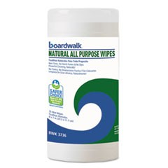Natural All Purpose Wipes, 7 x 8, Unscented, 75 Wipes/Canister, 6/Carton