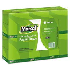 100% Recycled Convenience Pack Facial Tissue, WH, 6 Boxes of 80/PK, 6 Packs/Ctn