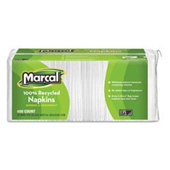 100% Recycled Luncheon Napkins, 11.4 x 12.5, White, 400/Pack, 6PK/CT