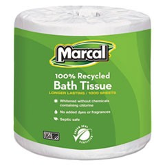100% Premium Recycled Bath Tissue, 1-Ply, 1000 Sheets/Roll, 40 Rolls/Carton