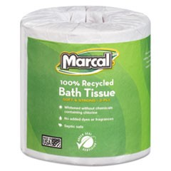 100% Recycled Two-Ply Bath Tissue, White, 506 Sheets/Roll, 80 Rolls/Carton