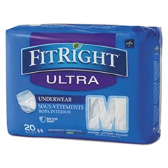 "FitRight Ultra Protective Underwear, Medium, 28-40"" Waist, 20/Pack"