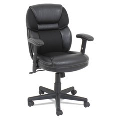 Mesh/Faux Leather Mid-Back Chair, Height-Adjustable T-Bar Arms, Black
