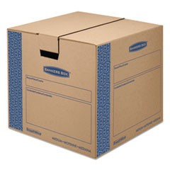 "SmoothMove Prime Moving & Storage Boxes, Medium, Regular Slotted Container (RSC), 18"" x 18"" x 16"", Brown Kraft/Blue, 8/Carton"