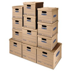 1SmoothMove Classic Moving & Storage Boxes, Assorted Sizes, Half Slotted Container (HSC), Brown Kraft/Blue, 12/Carton