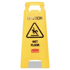 Caution Wet Floor Floor Sign, Plastic, 11 x 12 x 25, Bright Yellow
