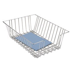 "Wire Desk Tray Organizer, 1 Section, Legal Size Files, 12"" x 16.5"" x 5"", Silver"