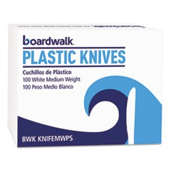 Mediumweight Polystyrene Cutlery, Knife, White, 10 Boxes of 100/Carton