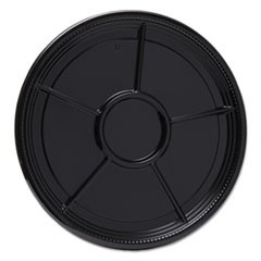 "Caterline Casuals Thermoformed Platters, PET, Black, 16"" Diameter, 25/Carton"