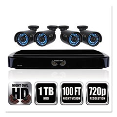 Four-Channel Smart HD Video Security System with Four 720p HD Cameras