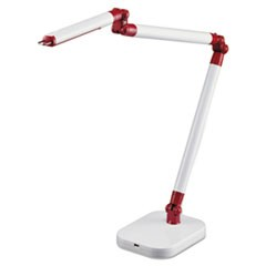 "PureOptics SummitFlex Ultra Reach LED Desk Light, 2 Prong, 29 1/2"", White/Red"