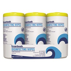 Disinfecting Wipes, 8 x 7, Lemon Scent, 75/Canister, 3 Canisters/Pack