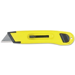 Plastic Light-Duty Utility Knife w/Retractable Blade, Yellow
