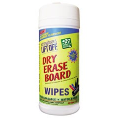Dry Erase Cleaner Wipes, Cloth, 7 x 12, 30/Canister, 6 Canisters/Carton