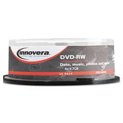 1DVD-RW Discs, 4.7GB, 4x, Spindle, Silver, 25/Pack