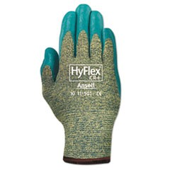 HyFlex Medium-Duty Assembly Gloves, Blue/Green, Size 10, 12 Pairs