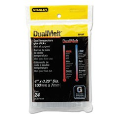 "Dual Temperature Mini Glue Sticks, 0.28"" x 4"", Dries Clear, 24/Pack"
