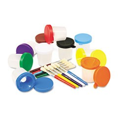 No-Spill Cups and Coordinating Brushes, Assorted Colors, 10/Set