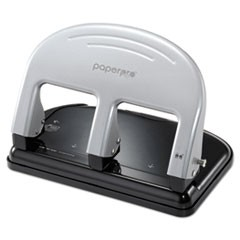 1EZ Squeeze Three-Hole Punch, 40-Sheet Capacity, Black/Silver