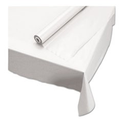 "1Plastic Roll Tablecover, 40"" x 100 ft, White"