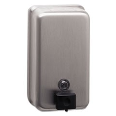 "ClassicSeries Surface-Mounted Soap Dispenser, 40 oz, 4.75"" x 3.5"" x 8.13"", Stainless Steel"