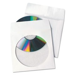 1Tech-No-Tear Poly/Paper CD/DVD Sleeves, 100/Box