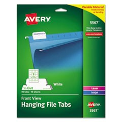 "Laser Printable Hanging File Tabs, 1/5-Cut Tabs, White, 2.06"" Wide, 90/Pack"