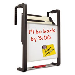 Hanging File Pocket with Dry Erase Board, Three Pockets, Letter, Black