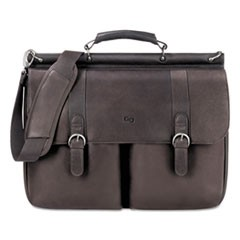 "Executive Leather Briefcase, 16"", 16 1/2"" x 5"" x 13"", Espresso"