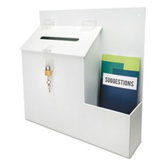 1Suggestion Box Literature Holder w/Locking Top, 13 3/4 x 3 5/8 x 13, White