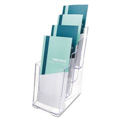 4-Compartment DocuHolder, Leaflet Size, 4.88w x 6.13d x 10h, Clear
