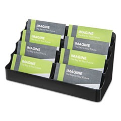 8-Tier Recycled Business Card Holder, 400 Card Cap, 7 7/8 x 3 7/8 x 3 3/8, Black