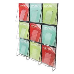 Stand-Tall 9-Bin Wall-Mount Literature Rack, Mag, 27.5w x 3.38d x 35.63h, Clear/Black