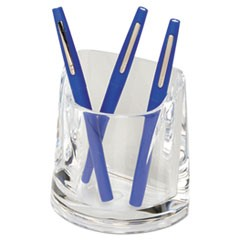 Stratus Acrylic Pen Cup, 4 1/2 x 2 3/4 x 4 1/4, Clear