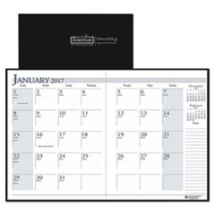 Recycled Ruled Planner with Stitched Leatherette Cover, 8.5x11, Black, 2016-2018