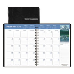 Recycled Earthscapes Full-Color Monthly Planner, 8 1/2 x 11, Black, 2016-2018